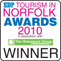 Deepdale won the Sustainable Tourism Award, Tourism in Norfolk Awards 2010